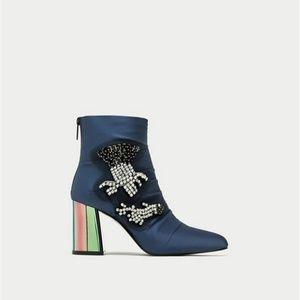 e0cabd479cb8c2 Zara Shoes - ZARA Bejeweled Satin High Heel New Ankle Boots